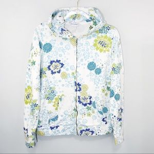 Fresh Produce White Floral Zip Hoodie Jacket Small